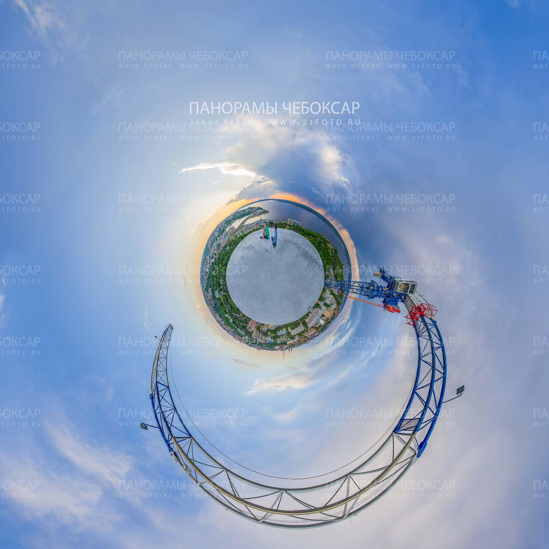 Летний вид с высоты на город Чебоксары