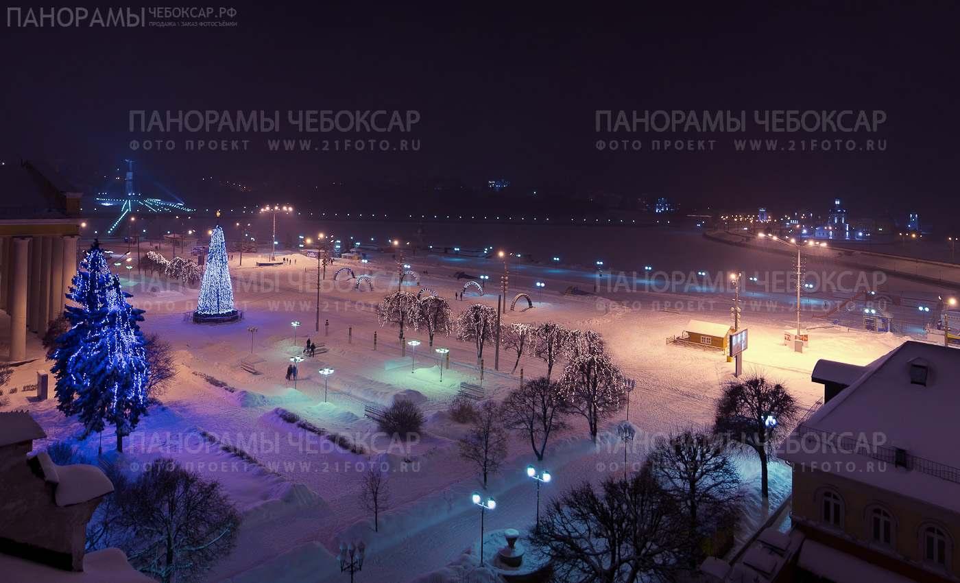 Чебоксарский залив зимой ночью