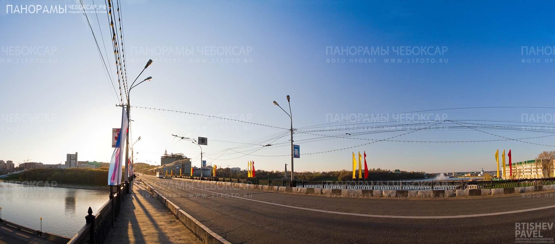 Фотография залива и Московского Моста в городе Чебоксары