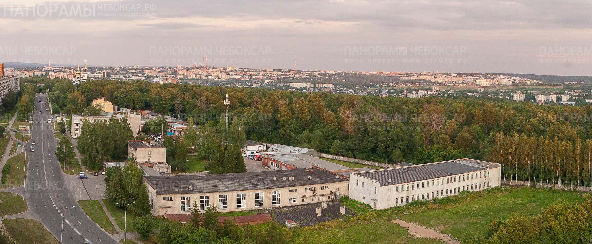 СЗР вид с многоэтажки на центр Чебоксар