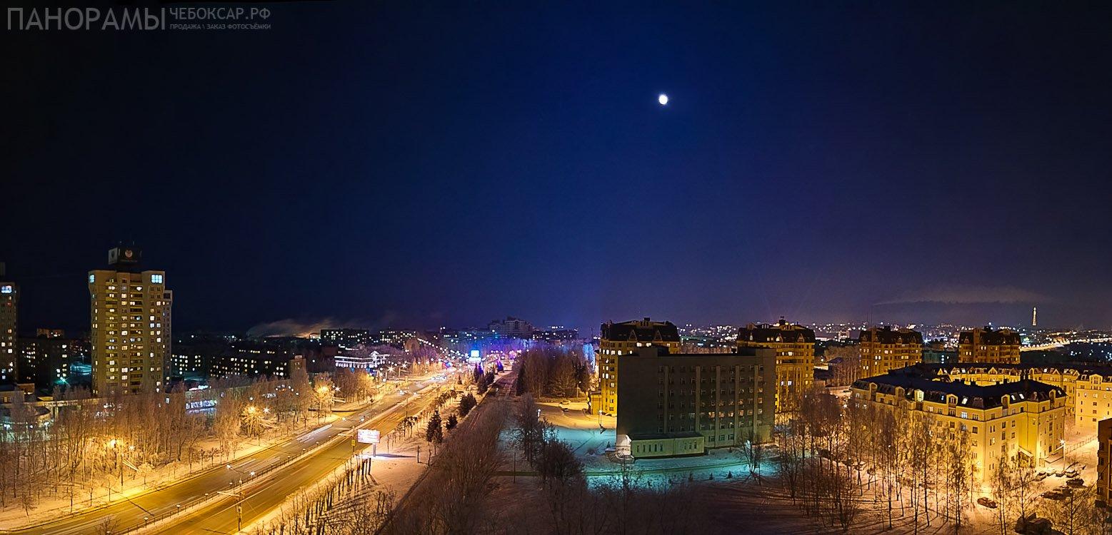 Ночной вид на город Чебоксары