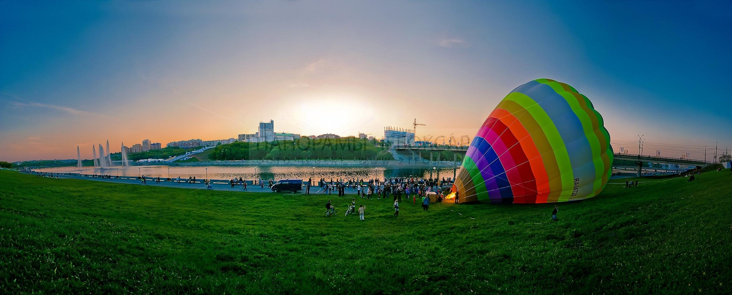Летняя фото-панорама Чебоксарского залива на закате с видом на театр оперы и балета (№4)