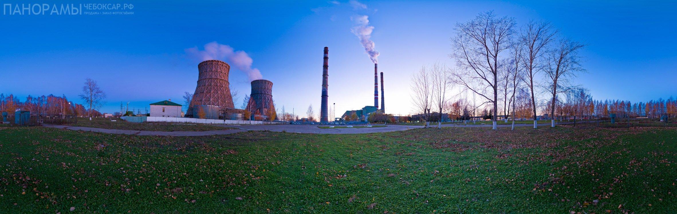 Фото панорама Чебоксарской Тэц-2 на закате (№6)
