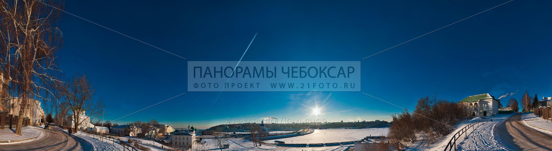 Фото-панорама Чебоксарского залива зимой вид на юг