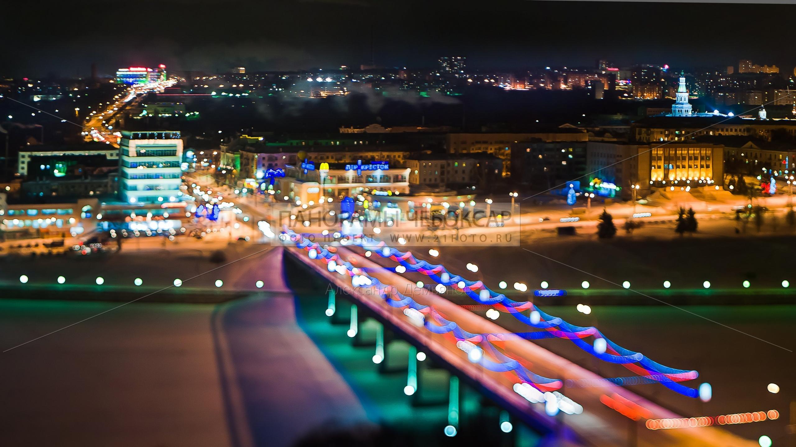 Фото-панорама Чебоксарского ночного залива зимой