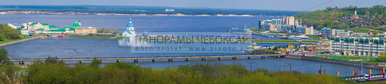 146 мегапиксельная панорама Чебоксарского залива