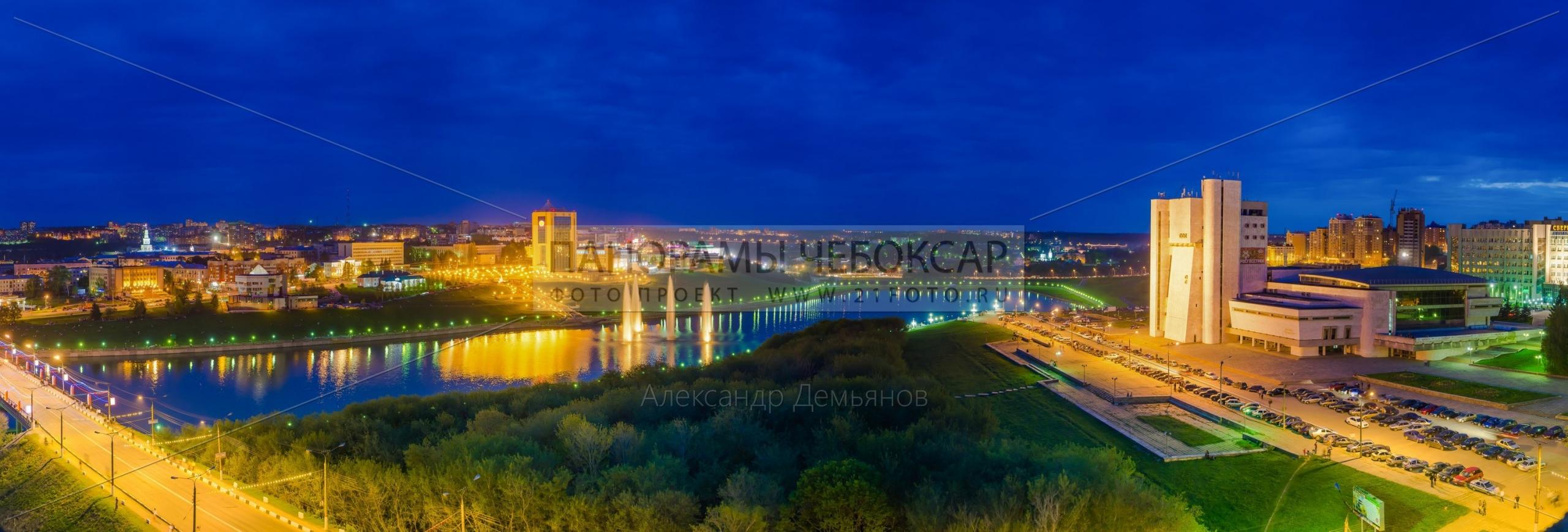 Вид на весенние Чебоксары залив и Дом Правительства