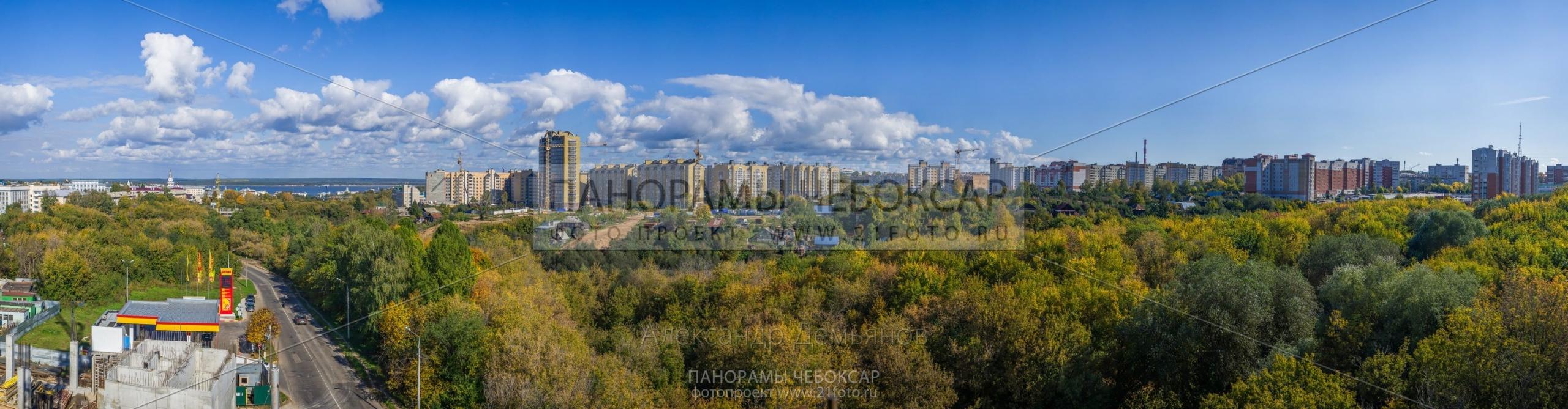 Вид с 5 этажа Альфа центра на восток (Гигапиксельные фотографии Чебоксар)