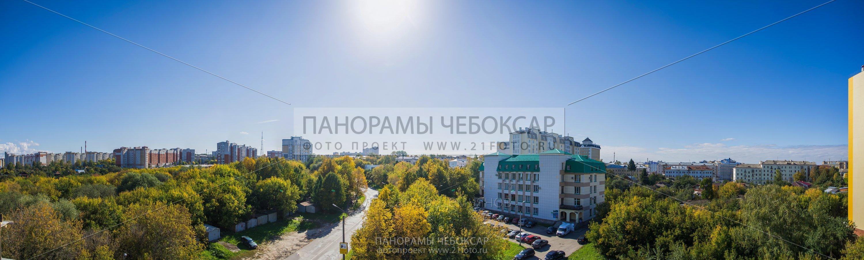 Вид с 5 этажа Альфа центра на ЮГ (Гигапиксельные фотографии Чебоксар)