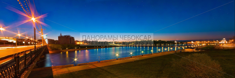 Ночная Фотография с Московского Моста и залива в городе Чебоксары