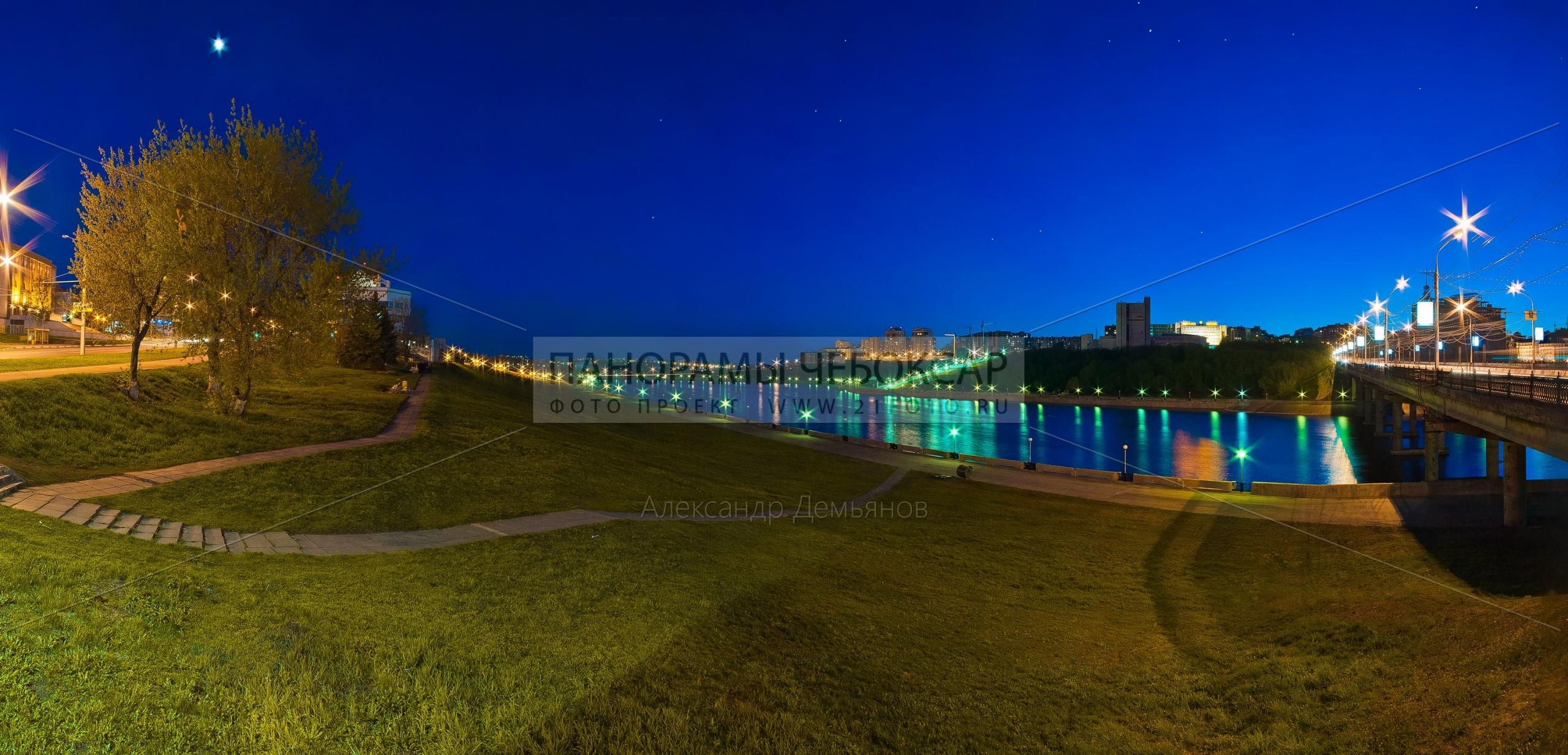 Ночная Фотография Московского Моста и залива в городе Чебоксары
