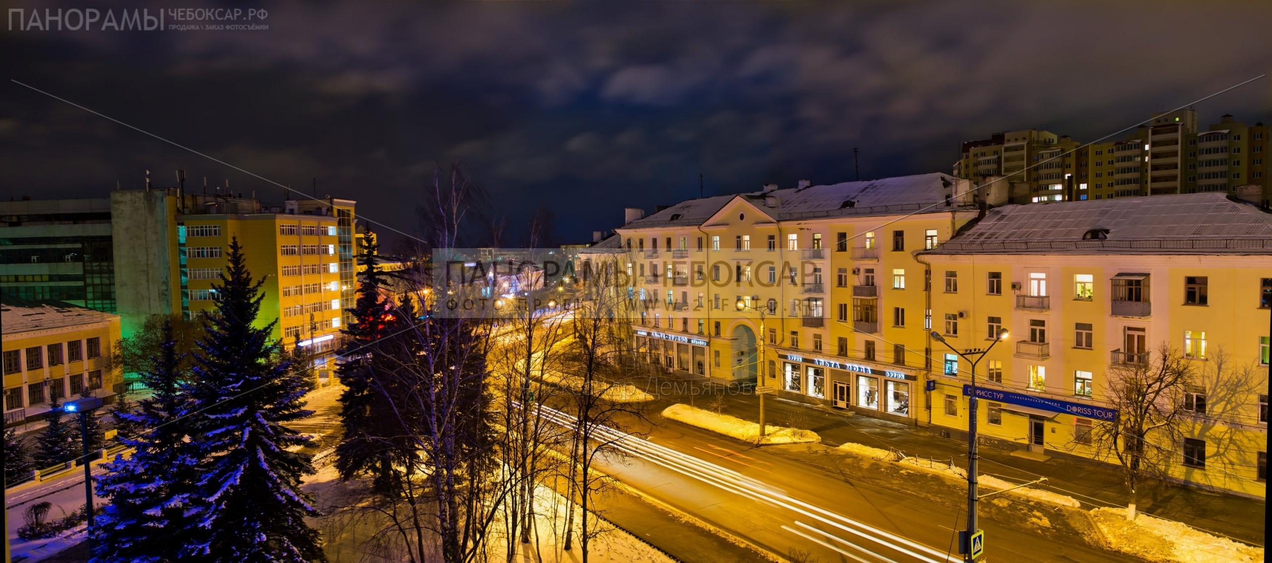 Вид на пр. Ленина с 5 этажа гостиницы Чувашия