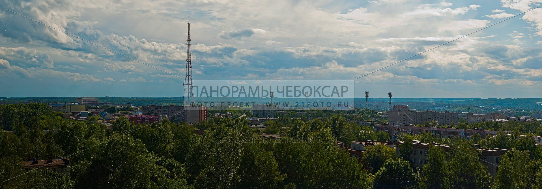 Фото вид на телебашню и центральный стадион Чебоксар с 12 этажа