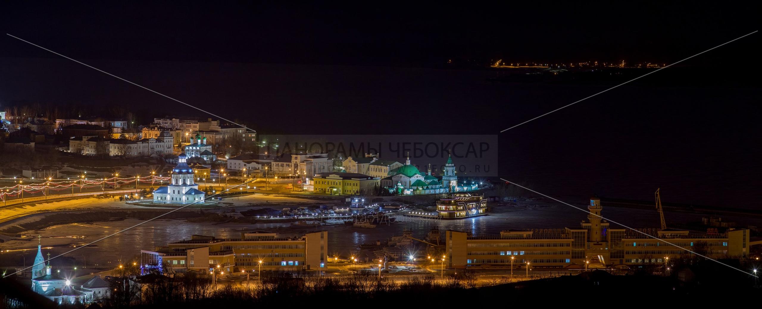 Чебоксарская бухта в начале Весны ночью