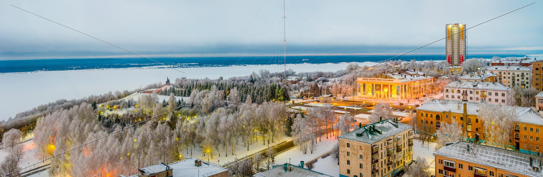 Парк победы и МКР Олимп зимой 2018