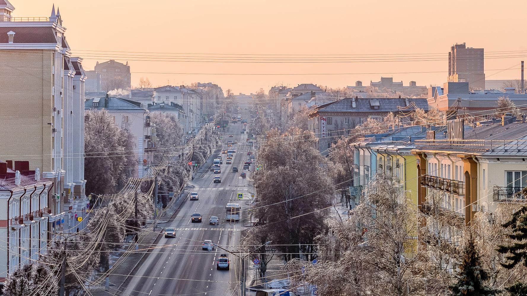 Фото проспекта Ленина в Чебоксарах ледяной зимой 2019